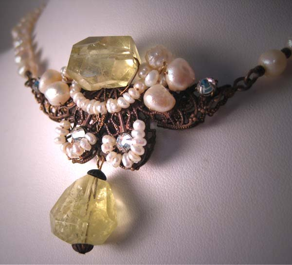 Lemon Quartz and Seed Pearl Necklace by J. Wass Designer Jewelry
