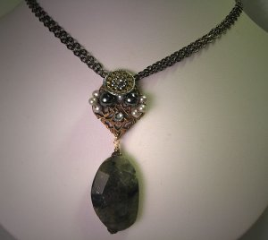 Labradorite Necklace with Antique Steel Cut Handmade by J. Wass Designer Jewelry