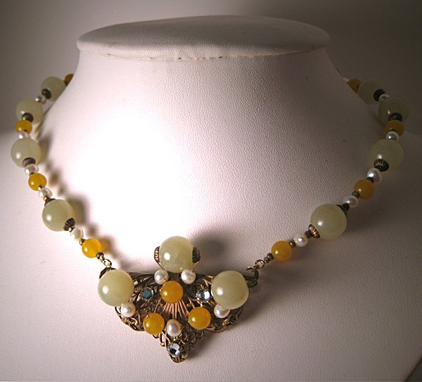 Green Jade Yellow Quartz Necklace with Pearls by J. Wass Designer Jewelry