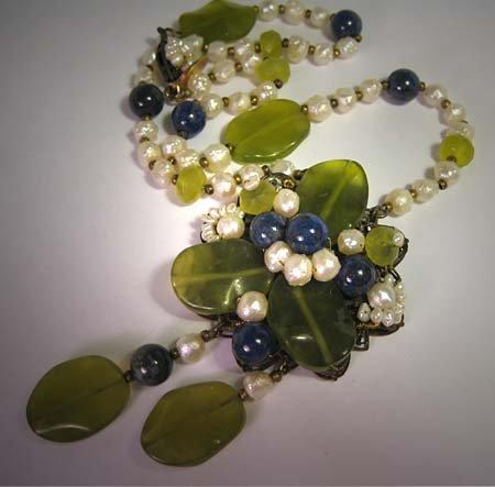 Handmade Lapis Jade Pearl Necklace by J. Wass Designer Jewelry