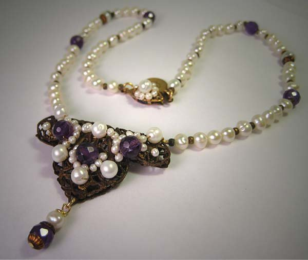 Faceted Amethyst Pearl Necklace by J. Wass Designer Jewelry