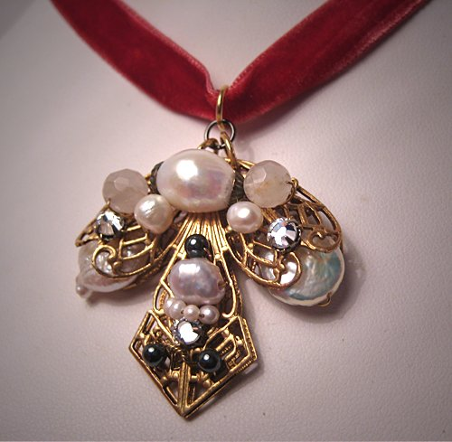 Pearl Necklace by J. Wass Designer Jewelry Pendant on Rose Ribbon