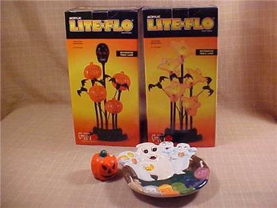 LOT OF HALLOWEEN LIGHTS & CANDY DISH & CANDLE