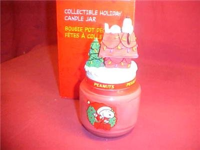 NIB PEANUTS SNOOPY COLLECTIBLE HOLIDAY CANDLE JAR