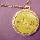 VINTAGE 1976 ASTROLOGY COIN NECKLACE LEO GOLD TONE
