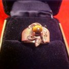 VINTAGE 18k TIGER EYE TYPE STONE RING SIZE 5