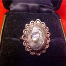 VINTAGE SHELL STONE ART DECO RING STAMPED