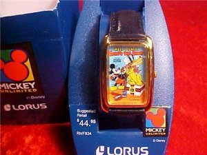 Vintage mint Lorus Walt Disney Mickey watch Society Dog MIB