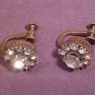 ANTIQUE GOLD RHINESTONE SCREW BACK EARRING VINTAGE