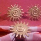 VINTAGE SET OF 6 GOLD SUN ART DECO NAPKIN RINGS