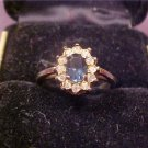 VINTAGE BLUE SAPPHIRE WITH RHINESTONES RING