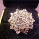 VINTAGE COCKTAIL CLUSTER DIAMOND RHINESTONE RING