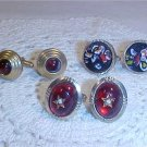 VINTAGE LOT OF RED STONE JEMS CUFF LINKS