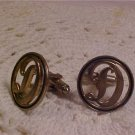 VINTAGE GOLD TONE CUFF LINKS WITH LETTER D
