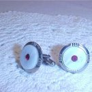 VINTAGE RED RHINESTONES WHITE STONE CUFF LINKS