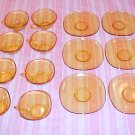 DEPRESSION GLASS AMBER 8 TEA CUPS 8 SAUCERS