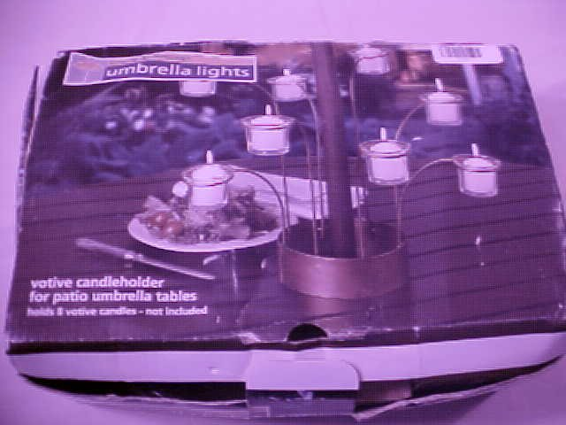 NIB UMBRELLA VOTIVE CANDLEHOLDER FOR PATIO HOLDS 8