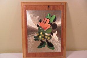 Walt Disney Vintage Foil Minnie Mouse Picture on wood plaque