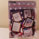 1993 LEISURE ARTS SALUTE TO AMERICA COUNTED CROSS STITCH PATRIOTIC MINI SAMPLERS
