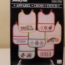 JANLYNN APPAREL CROSS STITCH LEAFLET #900-02 PARADE OF BIBS