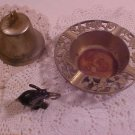 LOT OF ANTIQUE ITEMS BRASS ASHTRAY BELL FIGURINE