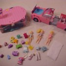 2002 LOT OF POLLY POCKET DOLLS, CAR, SWIMMIMG POOL LOT