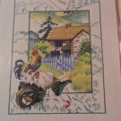 CROSS STITCH PATTERN FARMHOUSE WITH CHICKENS