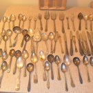 Silverplate Vintage Flatware mixed Lot Silverware 60 Pc Craft