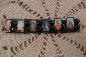 Magnetic Hematite Jesus Mary Angel Bracelet
