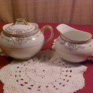 NORITAKE china WELLESLEY Pat.68476 Sugar Bowl with Lid and Matching Creamer