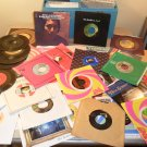 Lot of 46 45 rpm records with phonograph case 60&#39;s 70&#39;s 80&#39;s