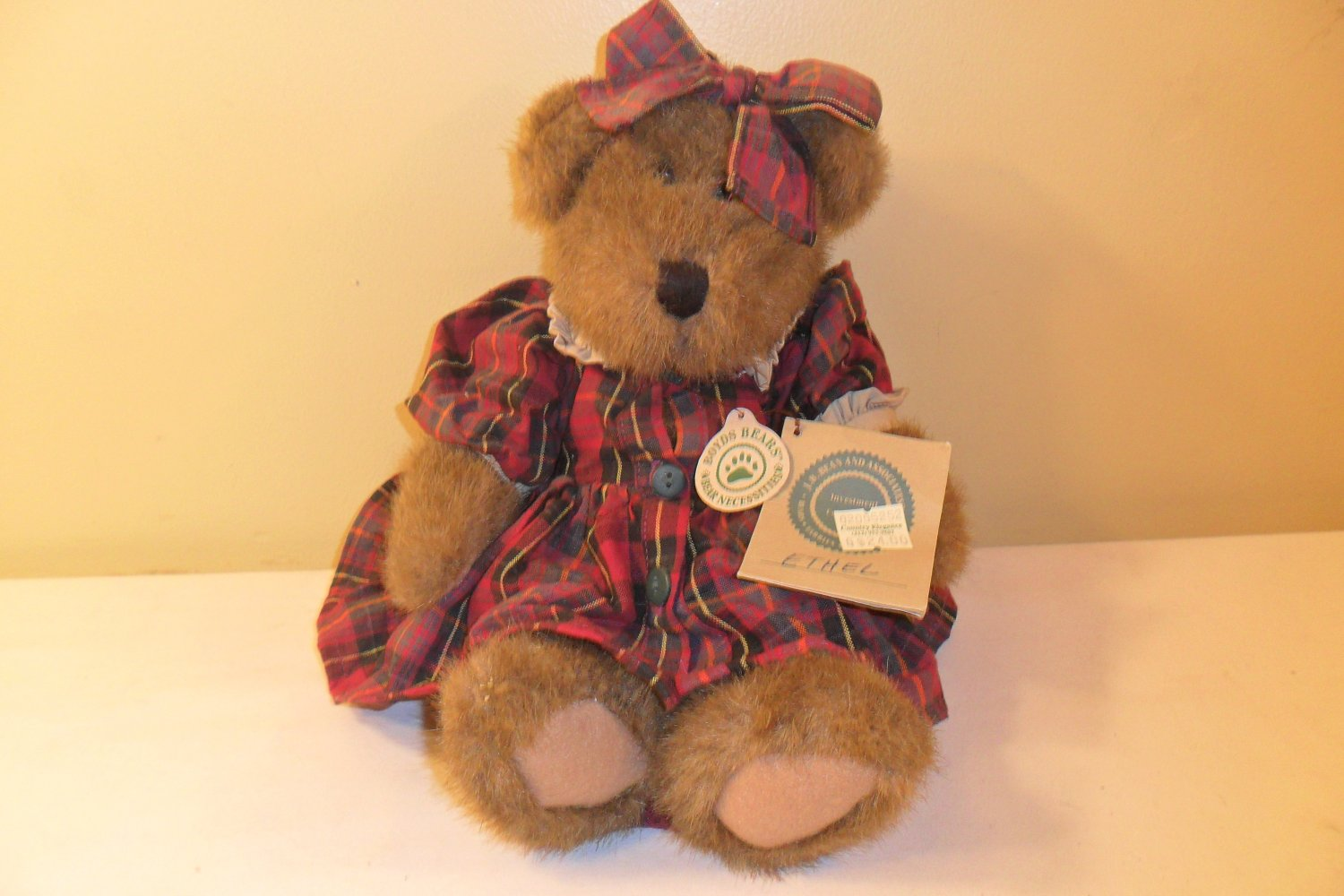 "Boyds Bears Ethel B. Bruin 12"" Retired Bear w/ 2 Tags"