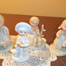 Vintage lot of 4 boy & girl Figurines with farm animals