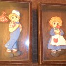 2 Vintage Shadow Box Wood Glass Frame Raggedy Andy 3D Picture