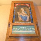 Antique Catholic Religious Last Rites Sick Call Shadow Box Oak NICE