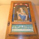 Antique Catholic Religious Last Rites Sick Call Shadow Box Oak NICE