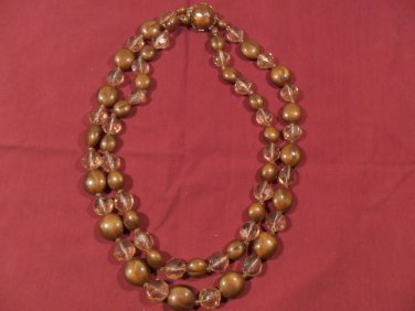 Vintage Multi 2 Strand brown Plastic & Crystal Glass Bead Necklace Western Germany
