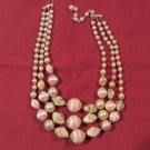 "Vintage Triple-strand Gold-tone Beaded Choker Necklace 16"""