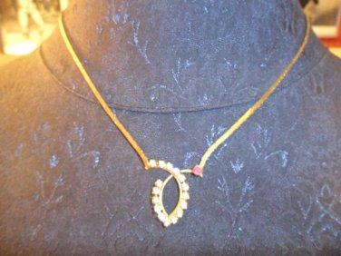 Vintage gold tone rhinestone necklace