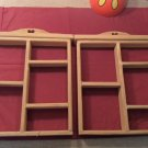 2 wooden wall display shelves