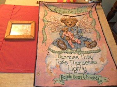 Lot of 2 Boyds Bear wall Tapestry & framed art