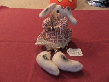Primitive Decor Button Leg Shelf Sitter Bunny