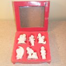 Vintage 6 Winter Snow Baby's Porcelain Ornaments