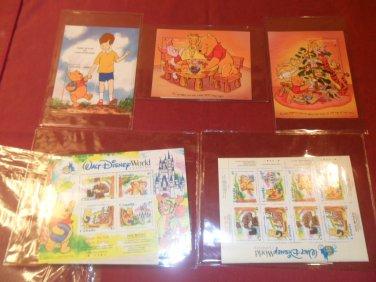 Huge 1990s Lot Winnie The Pooh Walt Disney World Stamp Collection w/ COA