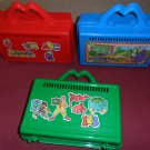 Vintage McDonald's Red,Green,Blue School PENCIL BOX case Happy Meal toy 1988 plastic