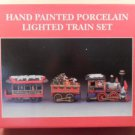 MIB Hand Painted Porcelain Lighted Train Set