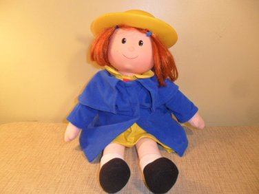 1998 Madeline Talking Doll 18 inches Red Hair Blue Coat Yellow Hat/Dress