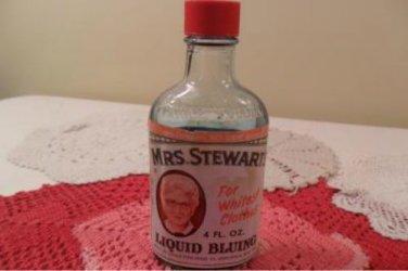 Vintage 1940 Mrs.Stewarts Liquid Bluing bottle