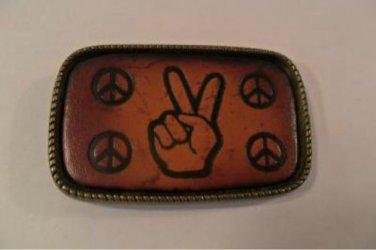 PEACE SIGN BRASS BELT BUCKLE