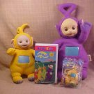 LOT OF TELETUBBIES TINKY WINKY & LA LA TOYS & VHS
